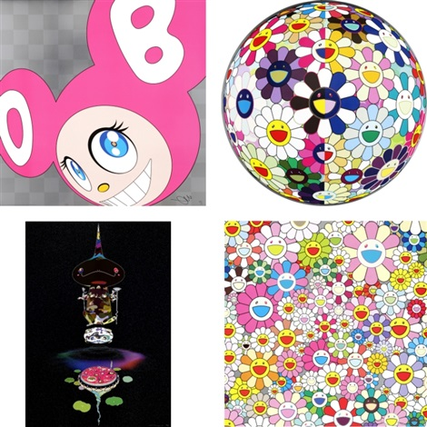 and then and then and then and then and then pink flowerball 3d from the realm of the dead reversed double helix flower smile set of 4 by takashi murakami