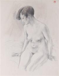 jeune femme nue assise, les bras au-dessus de la tête by armand rassenfosse