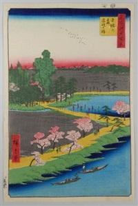 série des 100 vues célèbres d'edo. planche 31 - kameido umeyashiki. le jardin des pruniers à kameido by ando hiroshige