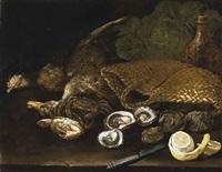 natura morta con ostriche e cesta by niccolino van houbraken