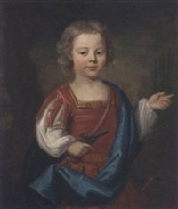 portrait of a young boy in roman costume holding a pistol in his right hand by james fellowes
