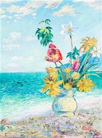 still life - flowers on shore by david davidovich burliuk