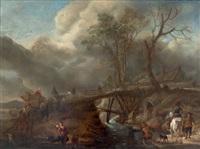cavaliers se reposant près de la rivière by pieter wouwerman