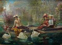 la ballade à bateau auprès des cygnes by hans zatzka