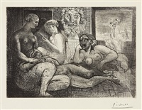 quatre femmes nues et tête sculptée (four nude women and a carved head), plate 82 (from la vollard suite) by pablo picasso