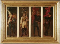 the german empire, depicting the uniform and colors of bavaria, prussia, baden, würtemburg (in 4 parts) by georg bleibtreu