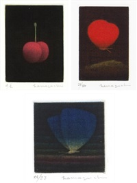 robina's cherry/ crimson butterfly/ blue butterfly (set of 3) by yozo hamaguchi