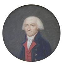 portrait d'homme en habit bleu, gilet rouge, chemise et cravate blanches by thouesny