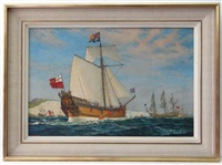 the first british yacht mary (with charles ii by the cliffs of dover) which was presented to charles ii by the city of amsterdam signed to front, lower right and national society label verso, has james bourlet label verso by william mcdowell