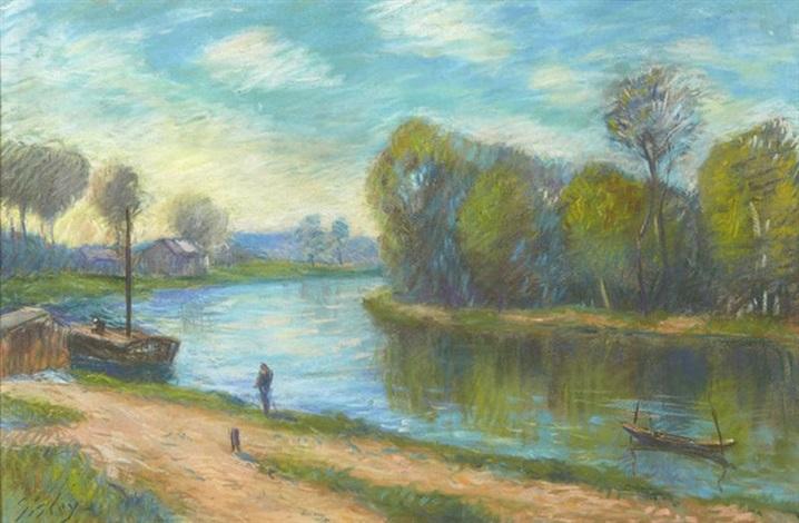 bord de rivière by alfred sisley