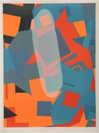 composition en gris, rouge et blanc by georges adrien (dubreuil) breuil