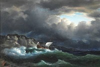 seascape with ships in the rough sea off the coast by fritz siegfried george melbye