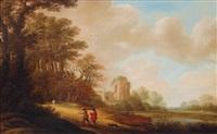 ideal landscape with ruins of a church by pieter jansz van asch