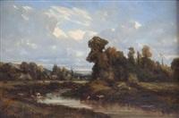 lavandières et vaches près d'une rivière by camille flers