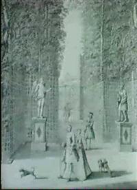 personnages devant l'entree du labyrinthe du chateau de   versailles by jean cotelle the younger