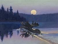 glacier park moose by joseph de yong