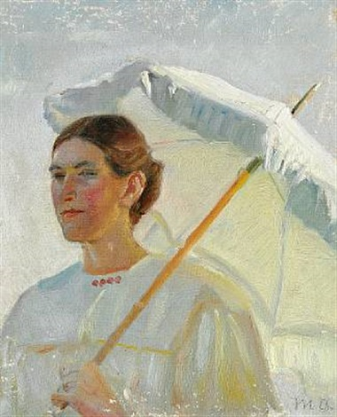 portrait of minne holst holding a parasol study for painting by michael peter ancher