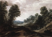 wooded landscape with tobias and the angel by cornelis claesz van wieringen