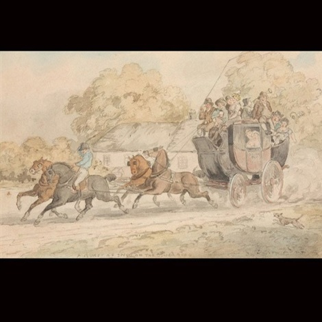 a burst of speed on the dover road by thomas rowlandson