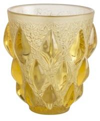 rampillon amber glass vase by rené lalique