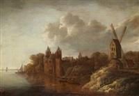 kustlandskap med stadsbebyggelse och väderkvarn by frans de hulst