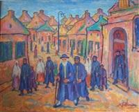 la sortie de la synagogue au shtetl by nathan gutman
