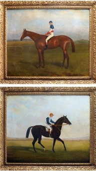 le jockey à l'hippodrome, jockey entraînant sa monture (2 works) by r.a. miley