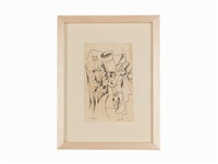pair of 2 drawings by hannah höch