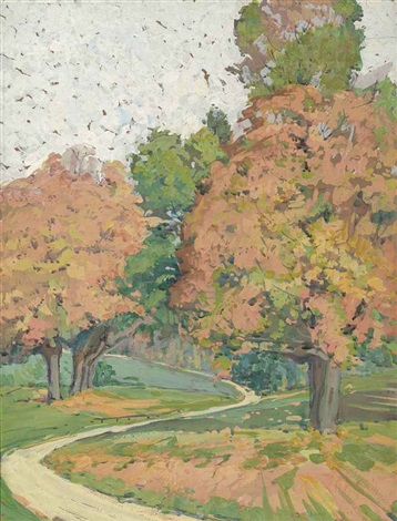 landscape with maple trees by jane peterson