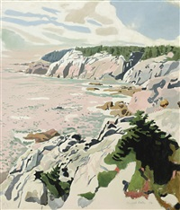 the cliffs of isle au haut by fairfield porter