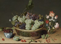 a still life of grapes in a basket, mulberries in a wanli kraak porcelain bowl and flowers in a glass vase on a stone ledge by isaac soreau