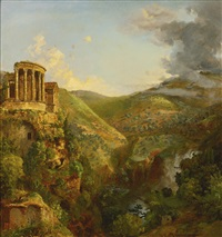 the temple of the sibyl, tivoli by jasper francis cropsey