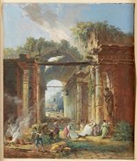 lavandières dans les ruines antiques by hubert robert
