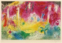 temple and the history of bacchus (from daphnis and chloe) by marc chagall