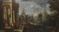 two architectural capricci with scenes from the life of christ (pair) by alessandro salucci