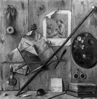 nature morte au trompe-oeil à la palette de peintre by antonio cioci