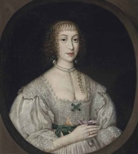 portrait of a lady traditionally identified as lady needham, half-length, in a lace-trimmed white dress with green ribbons, and a pearl necklace... by gilbert jackson