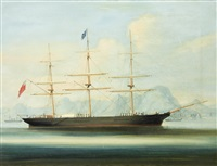 a british clipper ship moored off hong kong by anglo-chinese school (19)