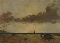 bord de mer, soleil couchant by alfred stevens
