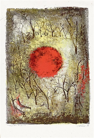 紅太陽 the red sun by zao wou ki