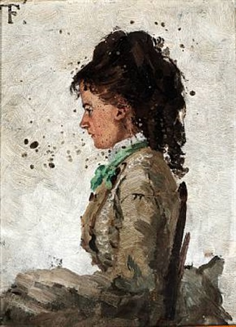 portrait of the painters first wife ingeborg charlotte gad 1852 1908 by frits thaulow