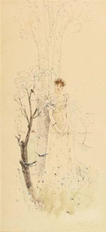 portrait de jeune fille en fleurs by alfred stevens