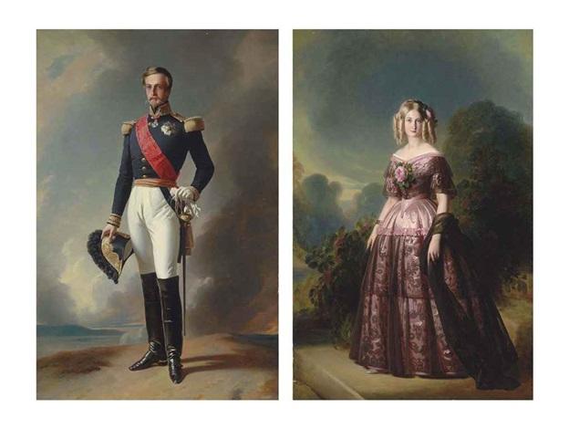 portrait of the duc d'aumale (+ portrait of the duchess d'aumale; pair) by franz xaver winterhalter