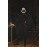 portrait of francesco i de medici, grand duke of tuscany, standing beside a table by sofonisba anguissola