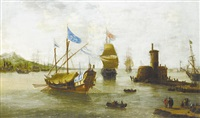 shipping approaching a harbor in a calm by jan peeters the elder