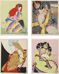 a collection of color woodcuts (49 works) by paul jacoulet