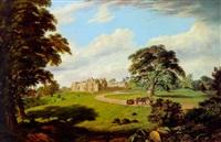 vue des abords du château de hever, kent (?) by edward capps