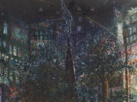 place de brouhere; and hague at night (2 works) by peter snow