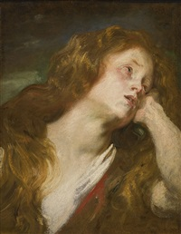 young woman resting her head on her hand (probably the penitent magdalene) by sir anthony van dyck