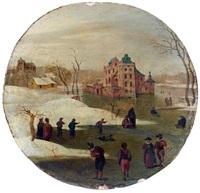 patineurs sur un lac gelé près d'un château, l'hiver, février by abel grimmer